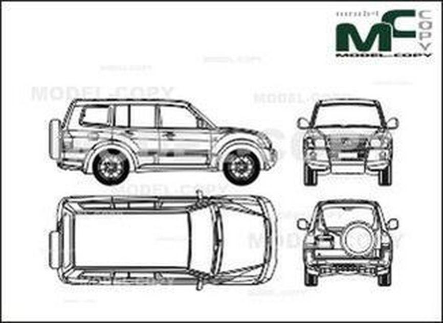 Mitsubishi Pajero 5-doors (2004) - 2D drawing (blueprints)