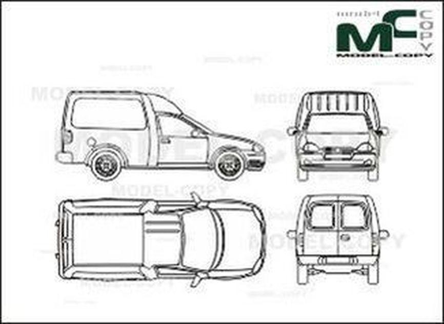 Opel Combo, Сombi, 3-doors - 2D drawing (blueprints)