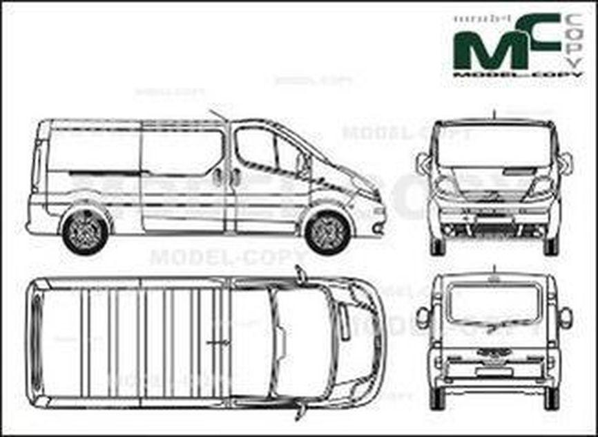 opel vivaro box l2h1  tailgate  2001  - disegno