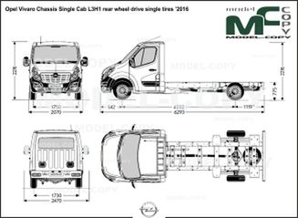 Opel Vivaro Chassis Single Cab L3H1 rear wheel drive single tires '2016 - drawing