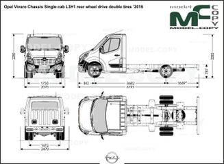 Opel Vivaro Chassis Single cab L3H1 rear wheel drive double tires '2016 - drawing