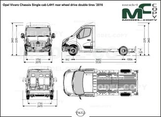 Opel Vivaro Chassis Single cab L4H1 rear wheel drive double tires '2016 - drawing