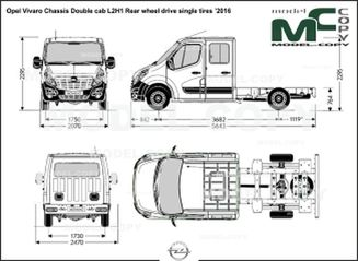 Opel Vivaro Chassis Double cab L2H1 Rear wheel drive single tires '2016 - drawing