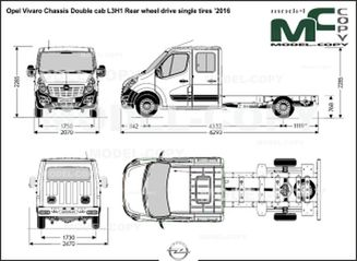 Opel Vivaro Chassis Double cab L3H1 Rear wheel drive single tires '2016 - drawing
