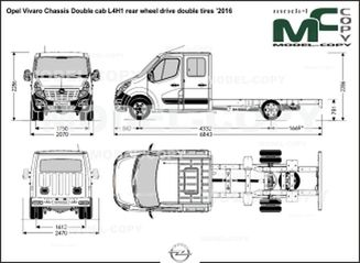 Opel Vivaro Chassis Double cab L4H1 rear wheel drive double tires '2016 - drawing