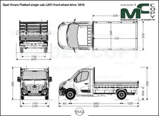 Opel Vivaro Flatbed single cab L2H1 front-wheel drive '2016 - drawing