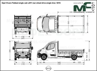 Opel Vivaro Flatbed single cab L2H1 rear wheel drive single tires '2016 - drawing
