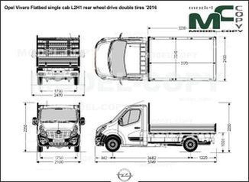 Opel Vivaro Flatbed single cab L2H1 rear wheel drive double tires '2016 - drawing