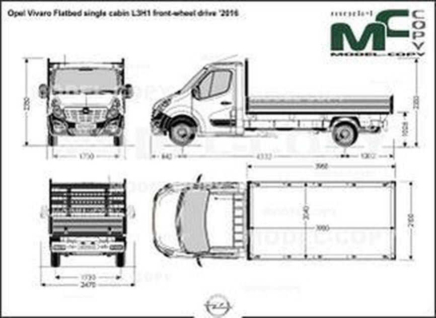 Opel Vivaro Flatbed single cabin L3H1 front-wheel drive '2016 - drawing