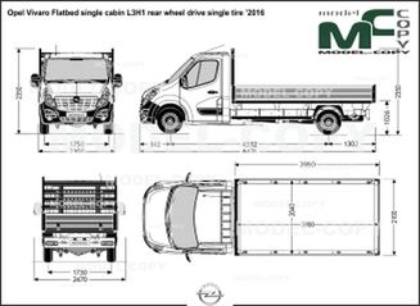 Opel Vivaro Flatbed single cabin L3H1 rear wheel drive single tire '2016 - ड्राइंग