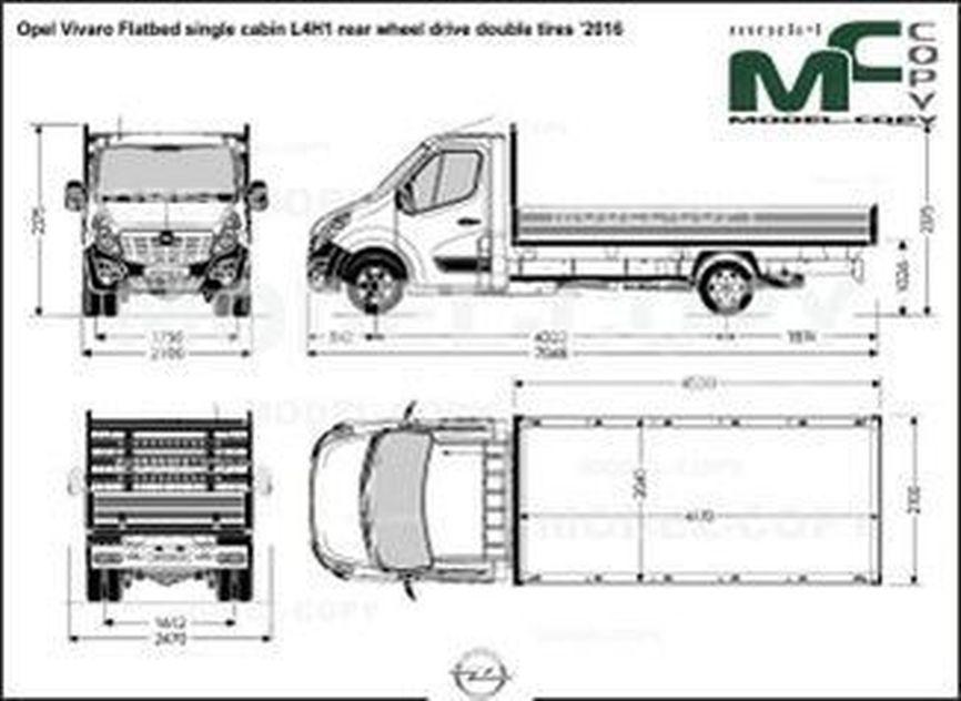 Opel Vivaro Flatbed single cabin L4H1 rear wheel drive double tires '2016 - drawing