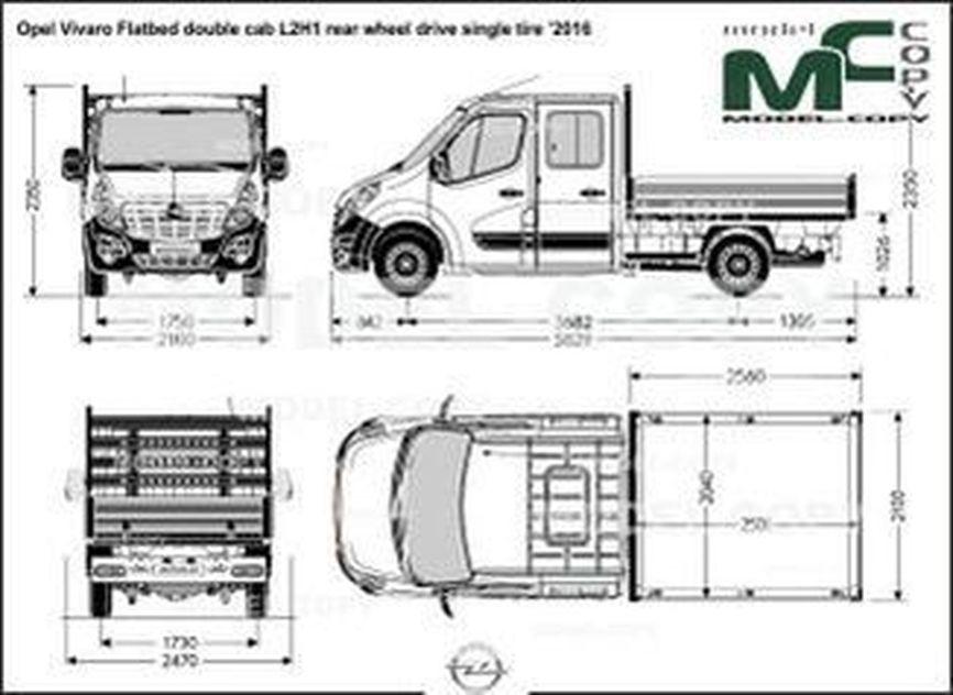 Opel Vivaro Flatbed double cab L2H1 rear wheel drive single tire '2016 - 2D drawing (blueprints)