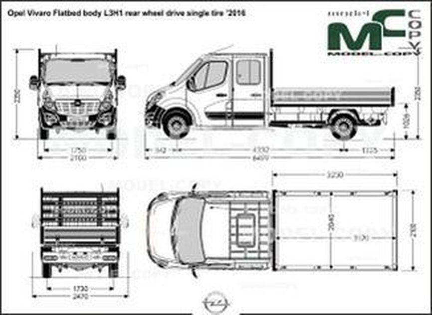 Opel Vivaro Flatbed body L3H1 rear wheel drive single tire '2016 - drawing