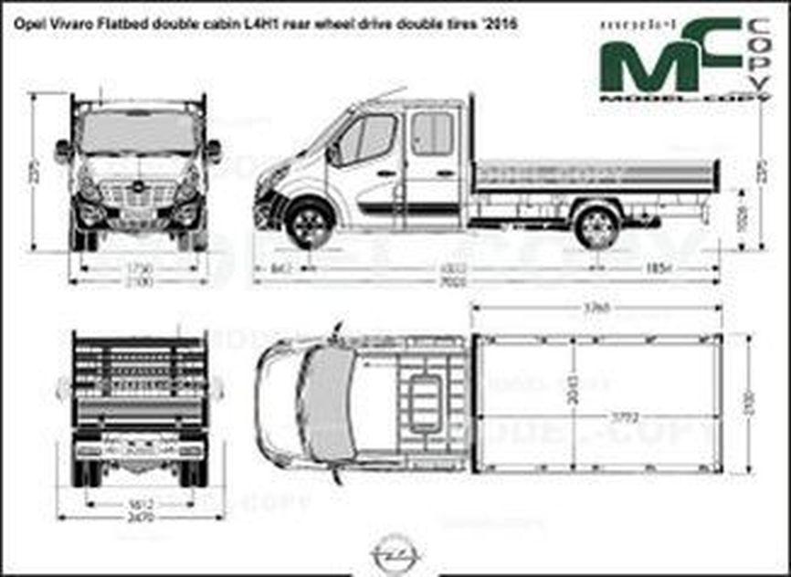Opel Vivaro Flatbed double cabin L4H1 rear wheel drive double tires '2016 - drawing