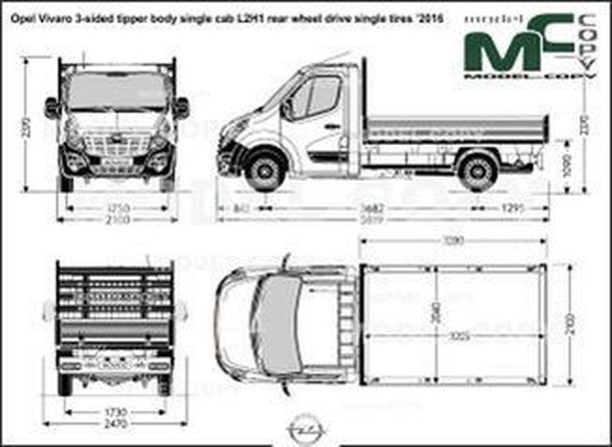 Opel Vivaro 3-sided tipper body single cab L2H1 rear wheel drive single tires '2016 - drawing