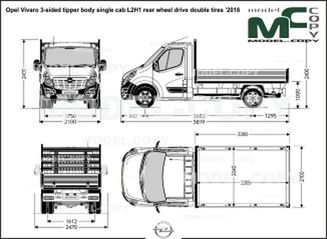 Opel Vivaro 3-sided tipper body single cab L2H1 rear wheel drive double tires '2016 - drawing