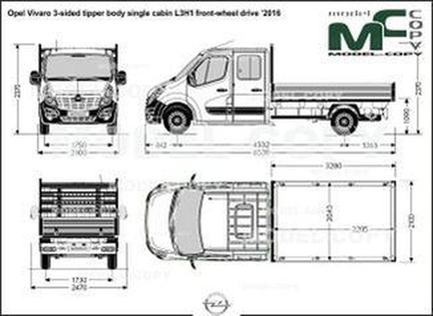 Opel Vivaro 3-sided tipper body single cabin L3H1 front-wheel drive '2016 - drawing