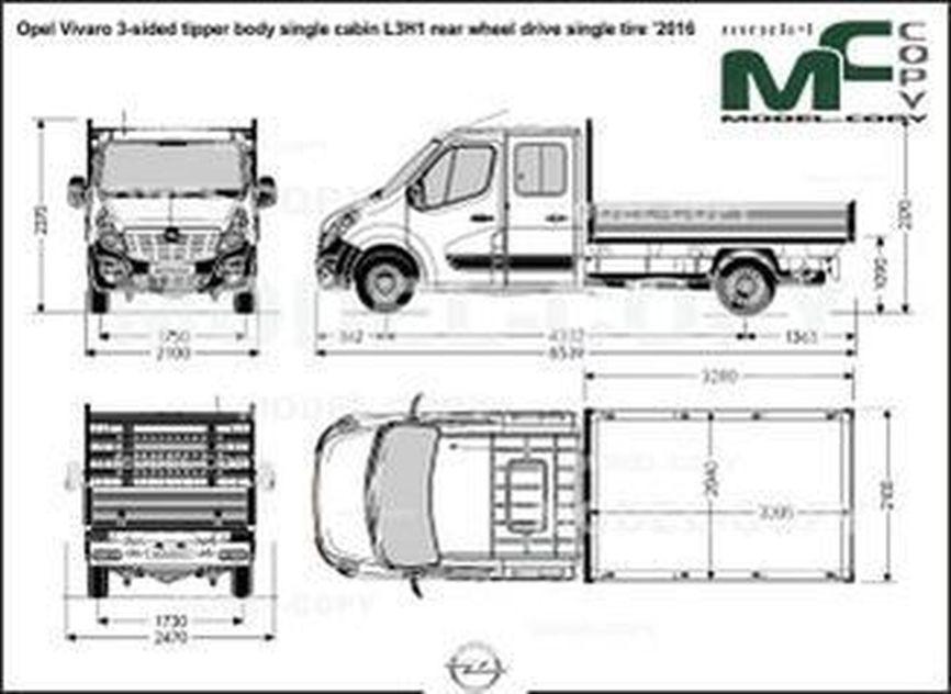 Opel Vivaro 3-sided tipper body single cabin L3H1 rear wheel drive single tire '2016 - drawing