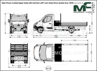 Opel Vivaro 3-sided tipper body with tool box L3H1 rear wheel drive double tires '2016 - drawing