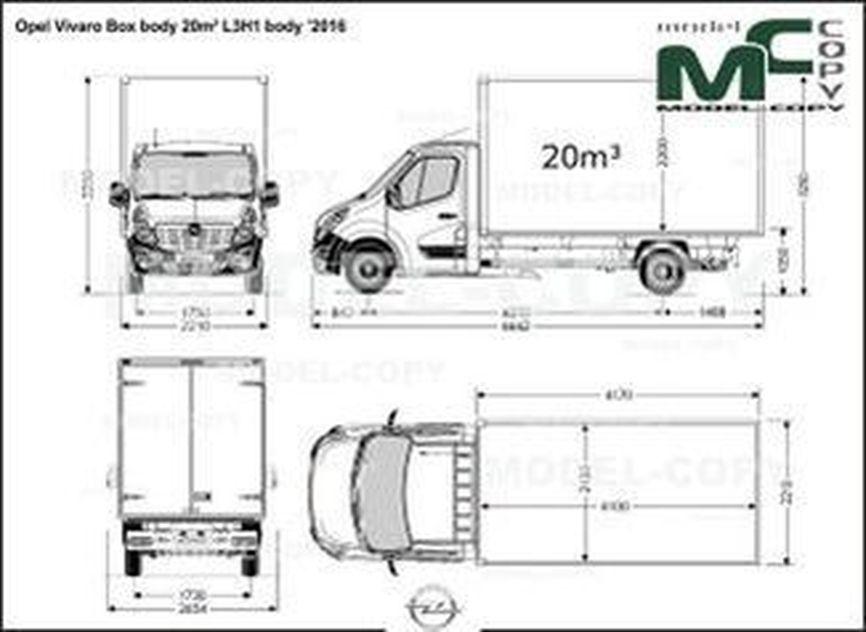 Opel Vivaro Box body 20m³ L3H1 body '2016 - drawing