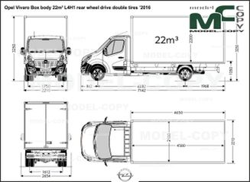 Opel Vivaro Box body 22m³ L4H1 rear wheel drive double tires '2016 - drawing