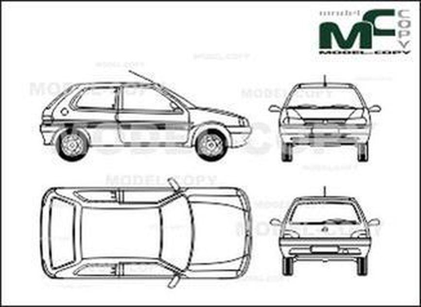 Peugeot 106 3 Doors 1992 1996 Drawing 27785 Model