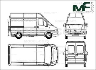 Peugeot Boxer, 290 CS/330 CS, box, high roof, shorter wheelbase (2002) - drawing