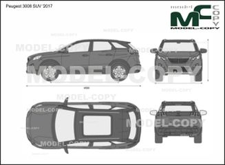 Peugeot 3008 SUV '2017 - 2D drawing (blueprints)