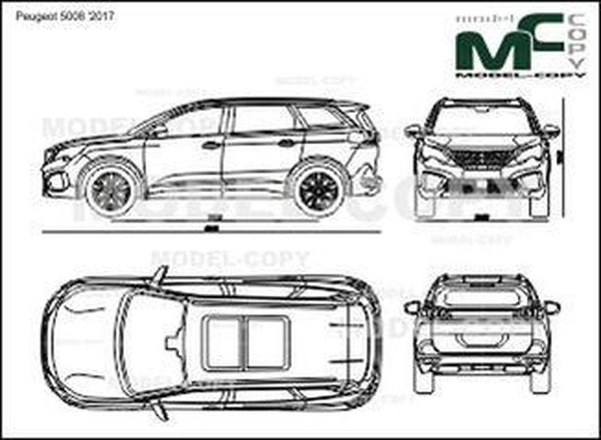 Peugeot 5008 '2017 - 2D drawing (blueprints)