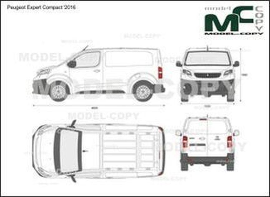 Peugeot Expert Compact '2016 - 2D drawing (blueprints)