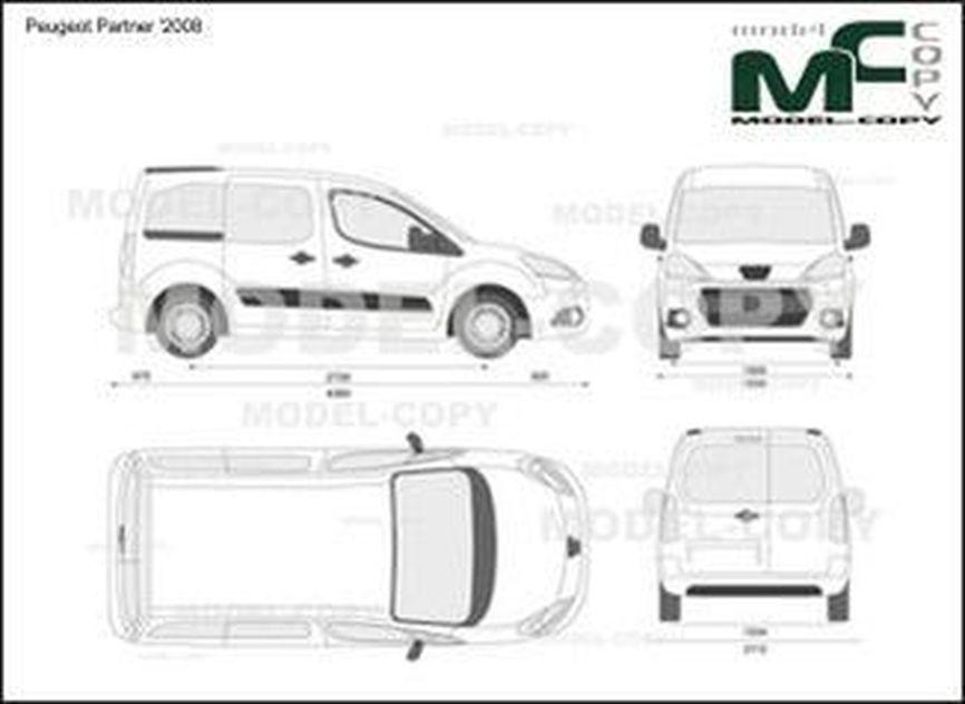 Peugeot Partner '2008 - 2D drawing (blueprints)