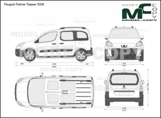 Peugeot Partner Teepee '2008 - 2D drawing (blueprints)