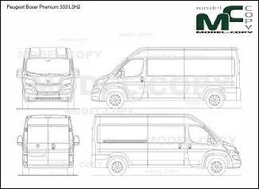 Peugeot Boxer Premium 333 L3H2 - 2D drawing (blueprints)