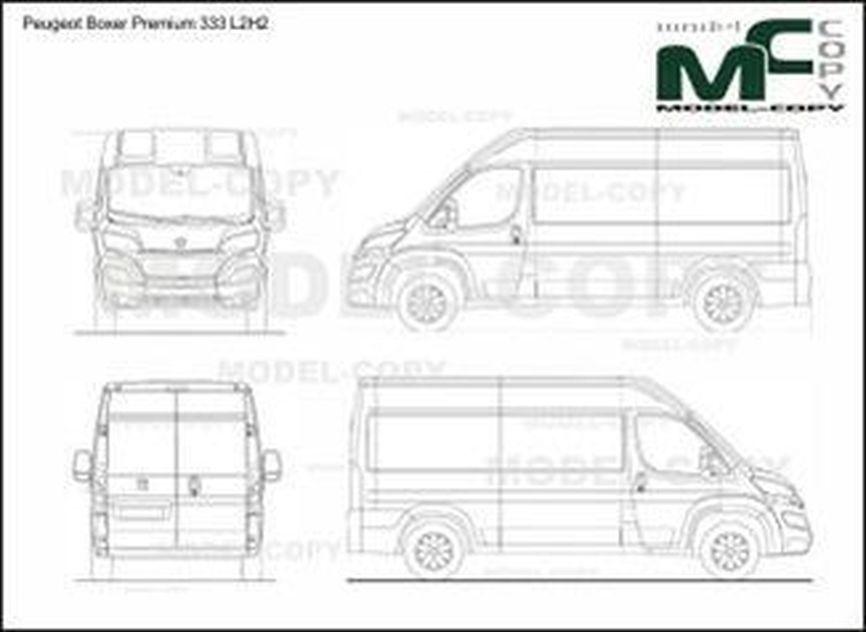 Peugeot Boxer Premium 333 L2H2 - 2D drawing (blueprints)