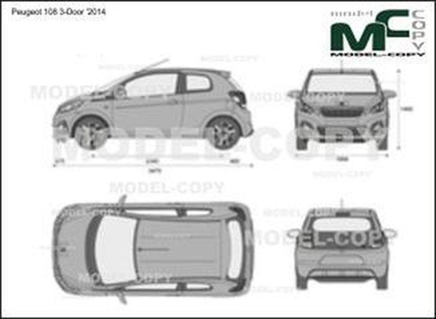 Peugeot 108 3-Door '2014 - 2D-чертеж