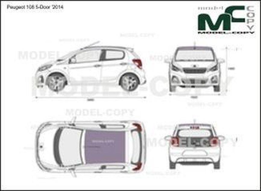 Peugeot 108 5-Door '2014 - 2D-чертеж
