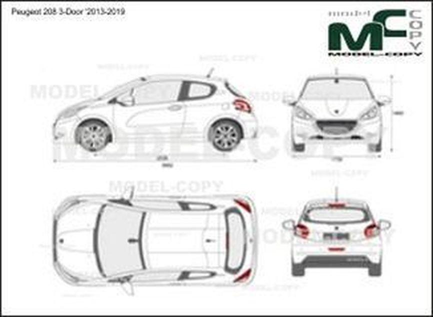 Peugeot 208 3-Door '2013-2019 - 2D drawing (blueprints)