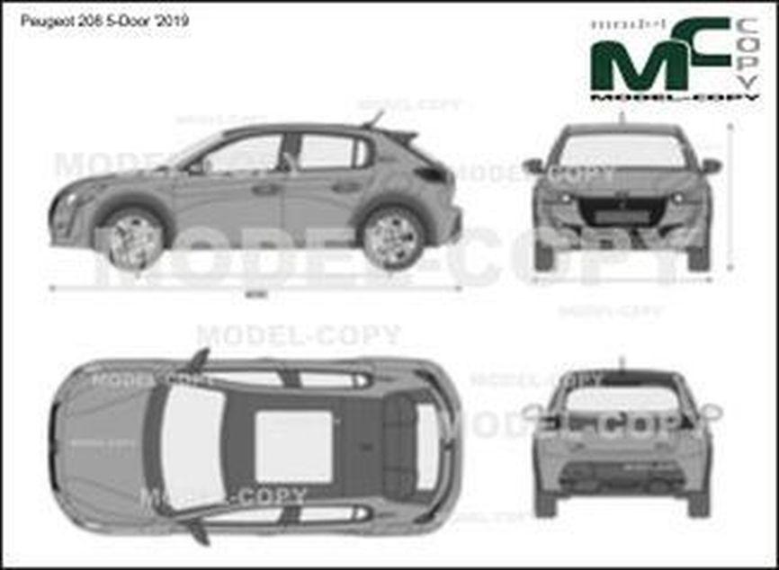 Peugeot 208 5-Door '2019 - 2D-чертеж