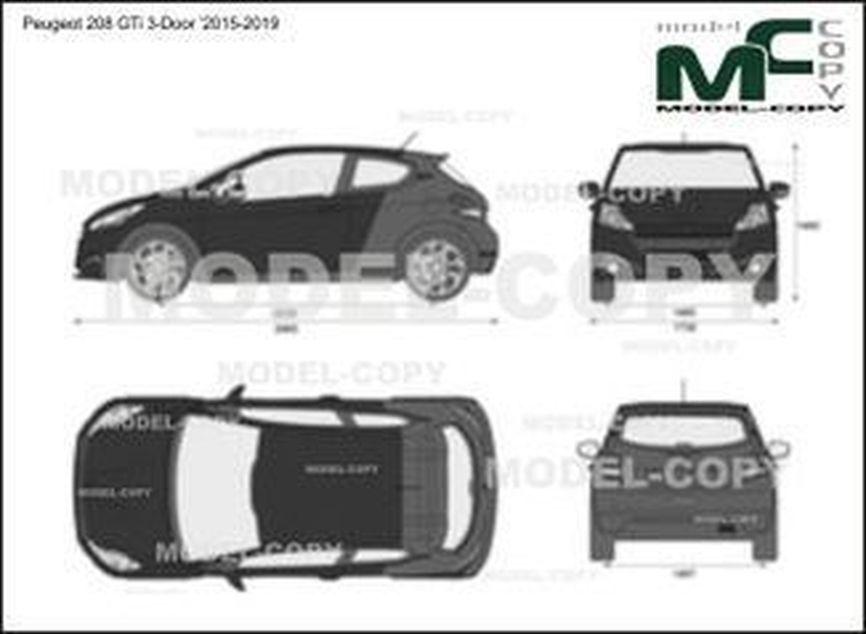 Peugeot 208 GTi 3-Door '2015-2019 - 2D-чертеж