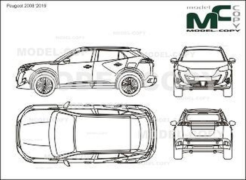 Peugeot 2008 '2019 - 2D drawing (blueprints)