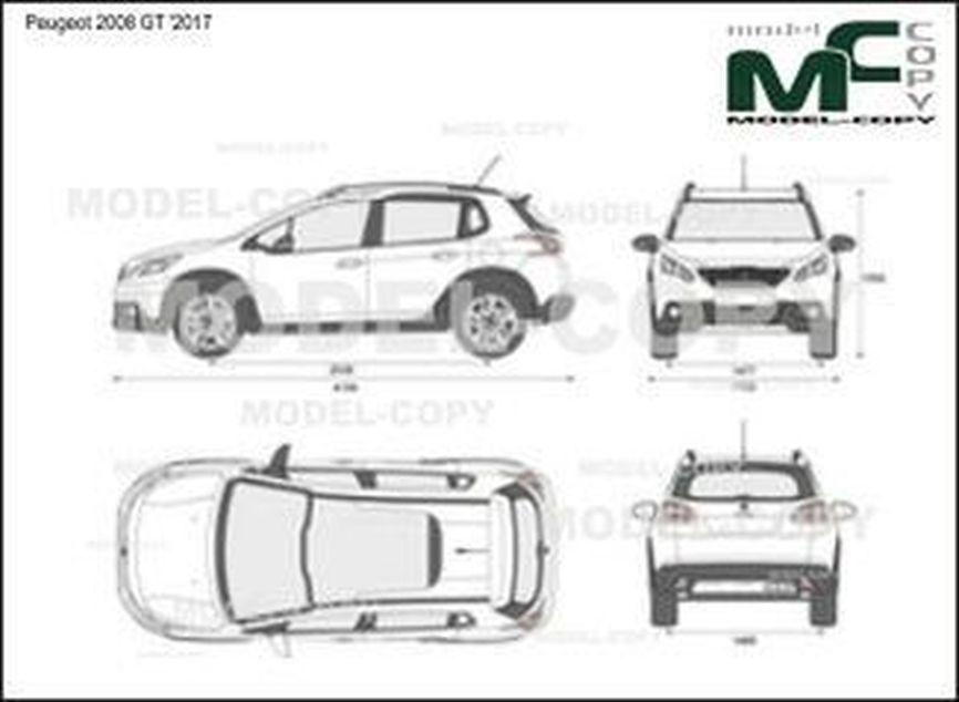 Peugeot 2008 GT '2017 - 2D drawing (blueprints)