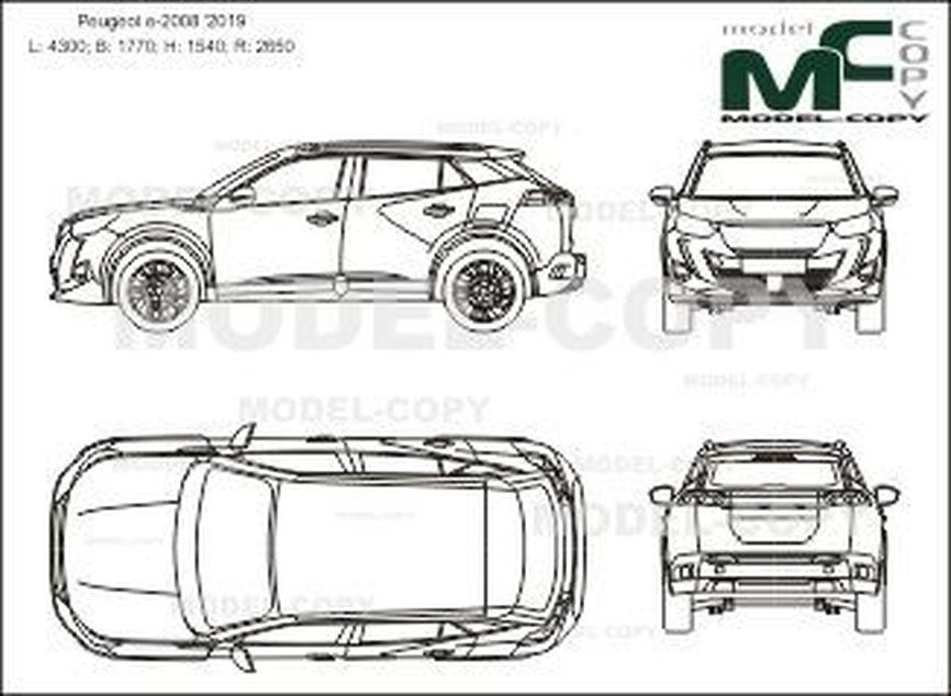 Peugeot e-2008 '2019 - 2D-чертеж