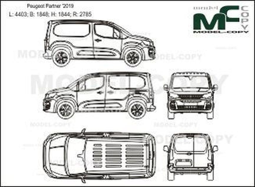 Peugeot Partner '2019 - 2D-чертеж