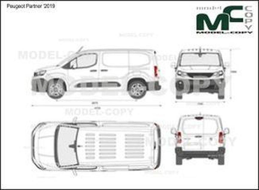 Peugeot Partner '2019 - 2D drawing (blueprints)