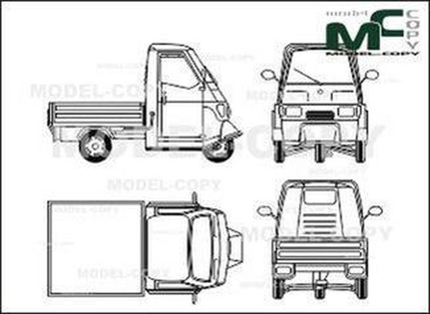 Piaggio Ape 50 Zeichnung 27988 Model Copy