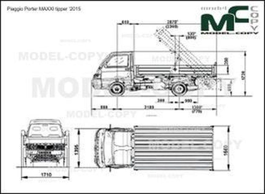Piaggio Porter MAXXI tipper '2011 - 2D-чертеж