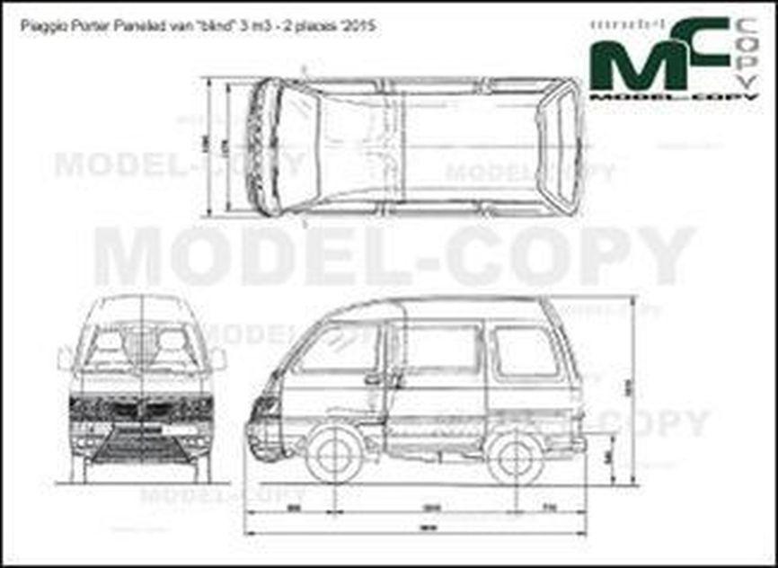 "Piaggio Porter Paneled van ""blind"" 3 m3 - 2 places '2011 - 2D図面"