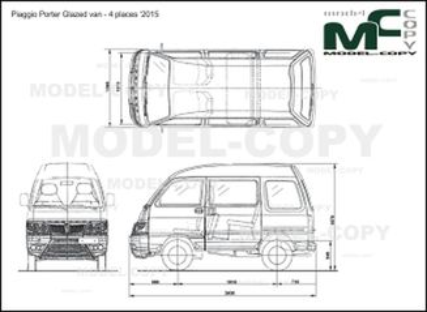 Piaggio Porter Glazed van - 4 places '2011 - 2D-чертеж