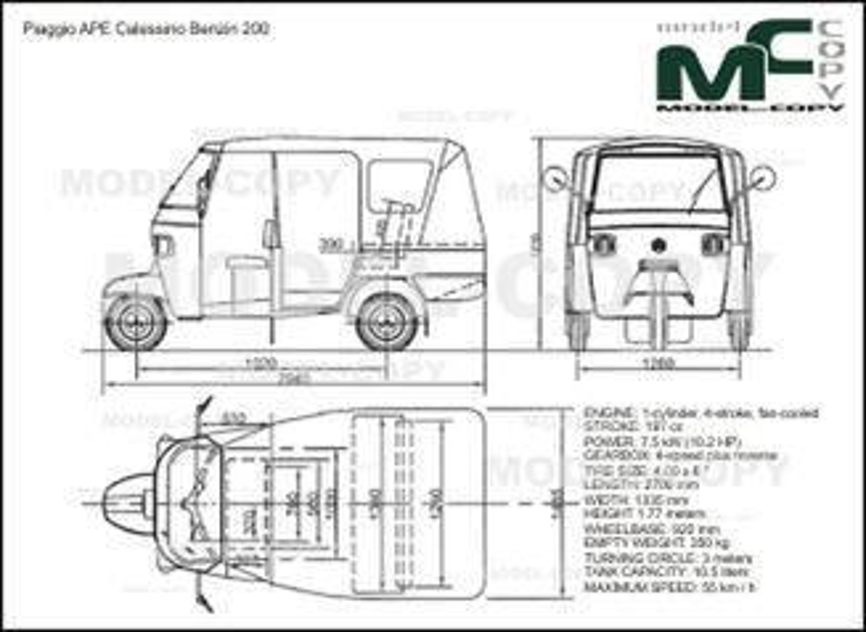 Piaggio APE Calessino Benzin 200 - 2D drawing (blueprints)