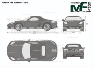 Porsche 718 Boxster S '2016 - 2D drawing (blueprints)